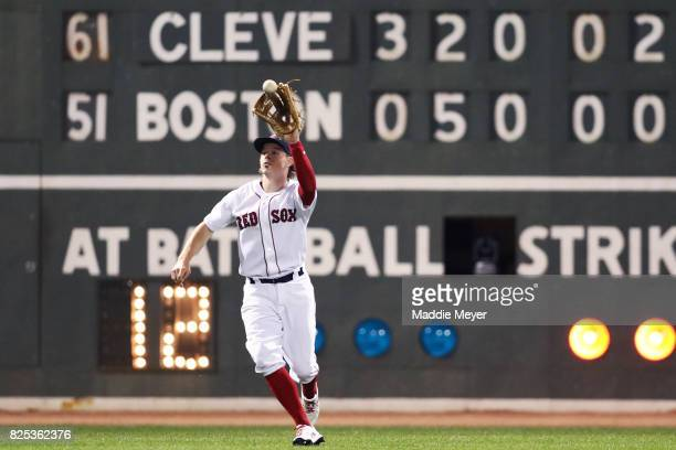 Brock Holt of the Boston Red Sox catches a fly ball hit by Francisco Lindor of the Cleveland Indians during the sixth inning at Fenway Park on August...