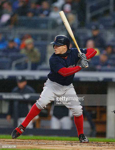 Brock Holt of the Boston Red Sox in action against the New York Yankees during a game at Yankee Stadium on May 6 2016 in the Bronx borough of New...