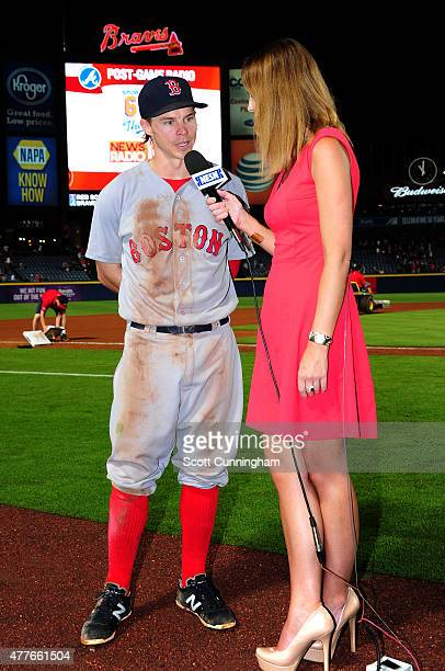 Brock Holt of the Boston Red Sox is interviewed after the game against the Atlanta Braves at Turner Field on June 18 2015 in Atlanta Georgia