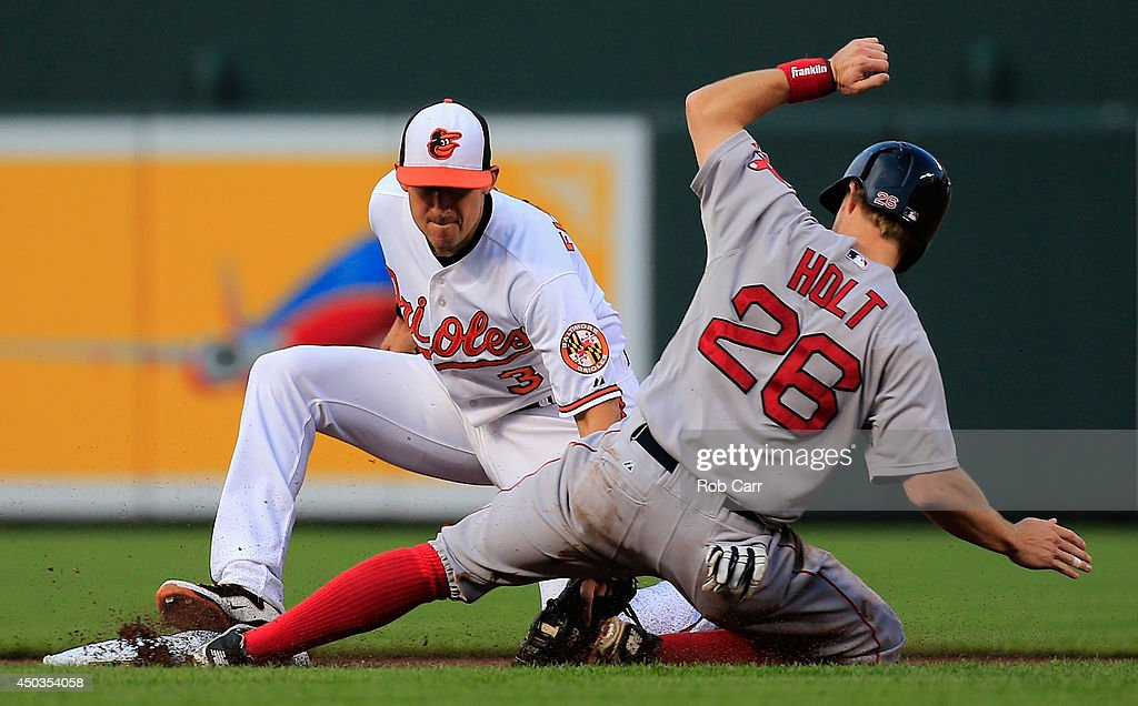 Brock Holt #26 of the Boston Red Sox is tagged out trying to steal second base by Ryan Flaherty #3 of the Baltimore Orioles during the first inning at Oriole Park at Camden Yards on June 9, 2014 in Baltimore, Maryland.
