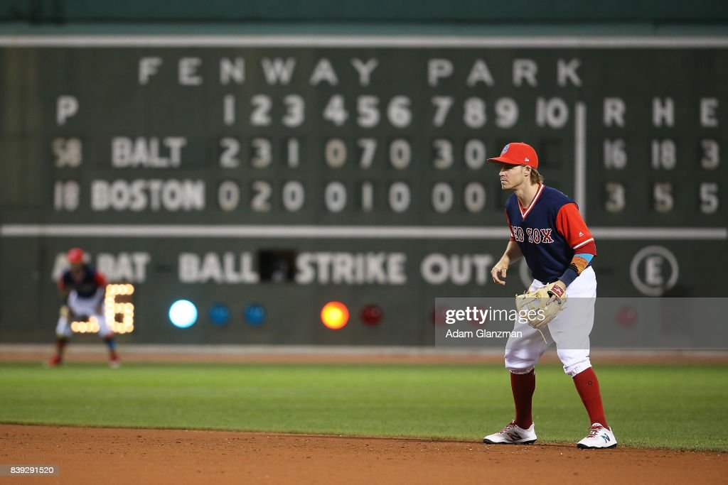 Brock Holt #12 of the Boston Red Sox looks on in the ninth inning of a game against the Baltimore Orioles at Fenway Park on August 25, 2017 in Boston, Massachusetts.