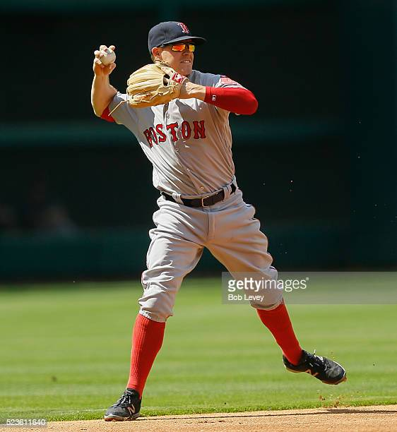 Brock Holt of the Boston Red Sox makes a play at shortstop against the Houston Astros at Minute Maid Park on April 23 2016 in Houston Texas