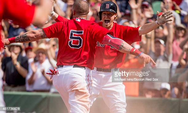 Brock Holt of the Boston Red Sox reacts after Jonny Gomes scored the winning run against the Baltimore Orioles in the ninth inning during the first...