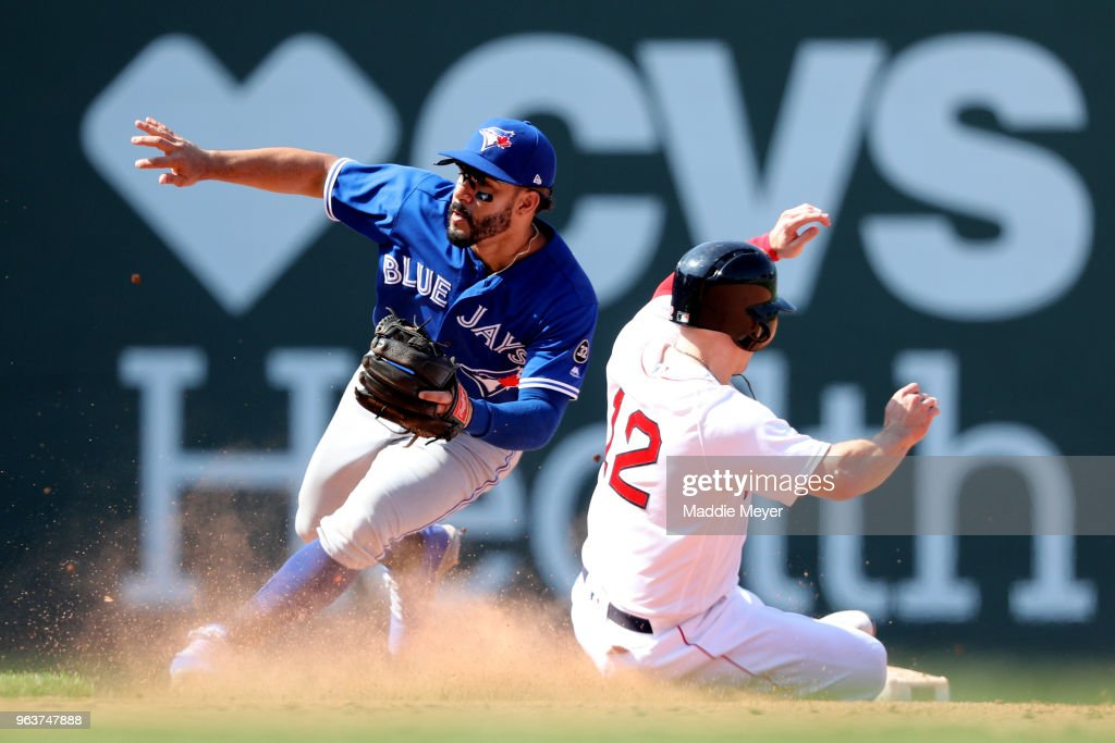 Brock Holt #12 of the Boston Red Sox steals second past Devon Travis #29 of the Toronto Blue Jays during the eighth inning at Fenway Park on May 30, 2018 in Boston, Massachusetts.