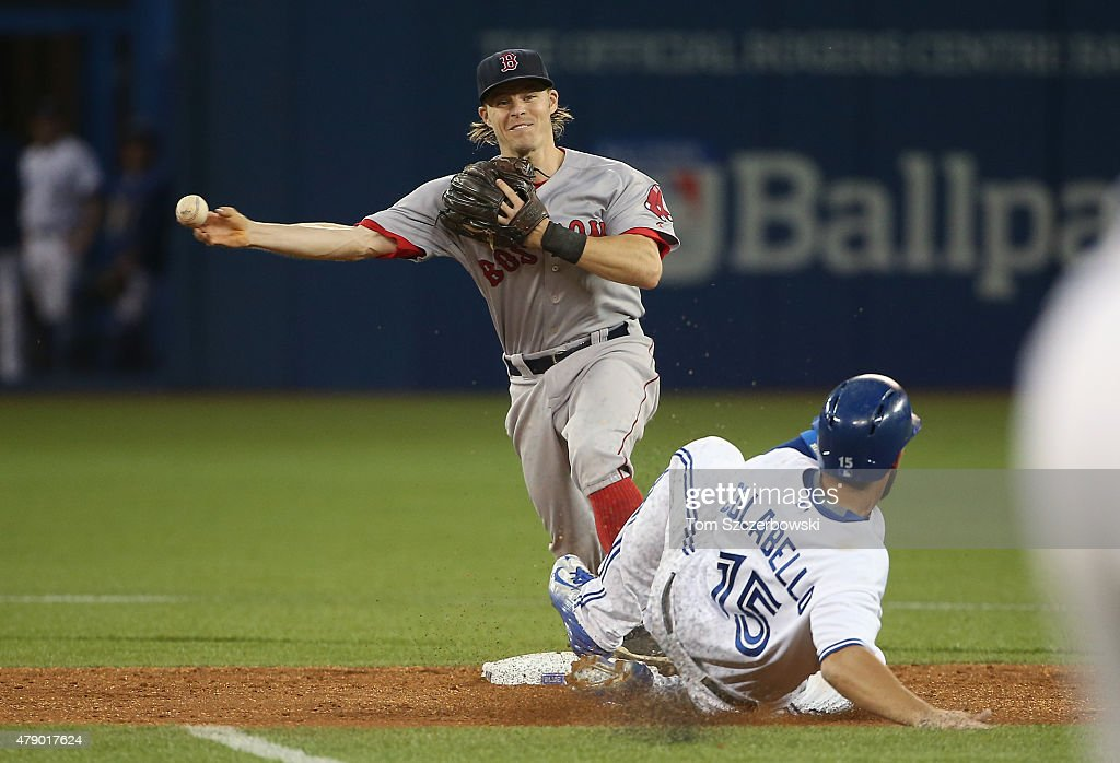 Brock Holt #26 of the Boston Red Sox turns a double play to end the seventh inning over Chris Colabello #15 of the Toronto Blue Jays at second base on June 29, 2015 at Rogers Centre in Toronto, Ontario, Canada.