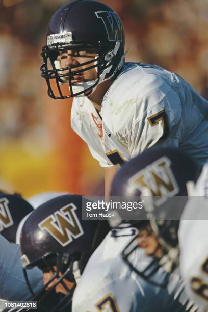 Brock Huard Quarterback for the University of Washington Huskies calls the play during the NCAA Pac10 Conference college football game against the...