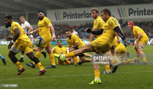 Brock James of La Rochelle clears the ball upfield during the Heineken Champions Cup Round 2 match between Sale Sharks and La Rochelle at AJ Bell...