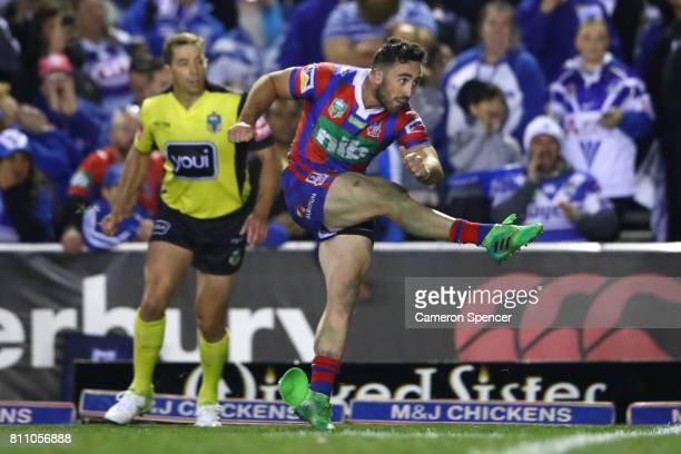 Brock Lamb of the Knight misses a penalty kick during the round 18 NRL match between the Canterbury Bulldogs and the Newcastle Knights at Belmore...