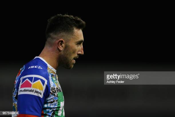 Brock Lamb of the Knights looks dejected during the round 10 NRL match between the Newcastle Knights and the Penrith Panthers at McDonald Jones...