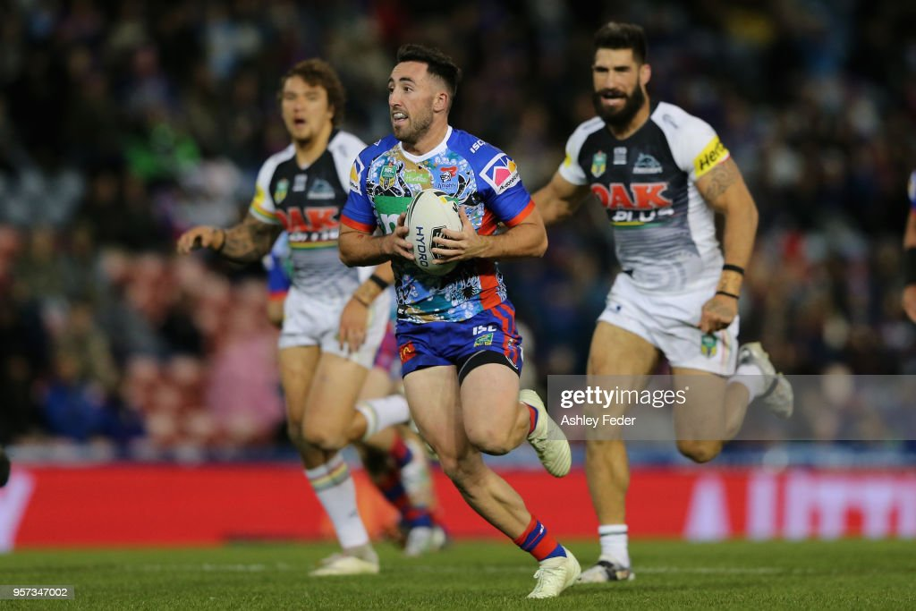 Brock Lamb of the Knights runs the ball during the round 10 NRL match between the Newcastle Knights and the Penrith Panthers at McDonald Jones Stadium on May 11, 2018 in Newcastle, Australia.