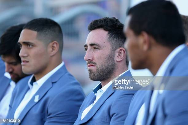 Brock Lamb of the Knights sits on the bench during the round 26 NRL match between the Newcastle Knights and the Cronulla Sharks at McDonald Jones...