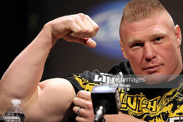 Brock Lesnar attends the UFC 141 Lesnar v Overeem onsale press conference at the Santa Monica Civic Auditorium on November 11 2011 in Santa Monica...