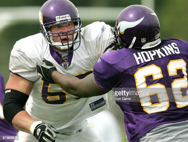 Brock Lesnar battles in a morning drill pitting the offense against defense at Minnesota Vikings Training Camp in Mankato Minnesota on August 4 2004
