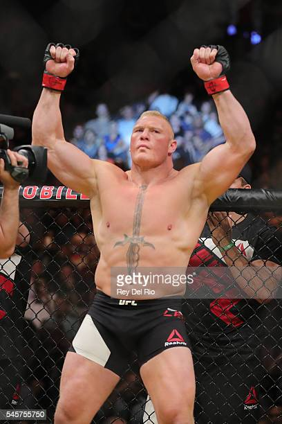 Brock Lesnar before his fight against Mark Hunt during the UFC 200 event at TMobile Arena on July 9 2016 in Las Vegas Nevada