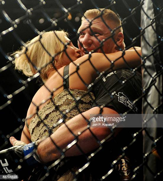 Brock Lesnar celebrates with his wife after defeating Randy Couture at the UFC 91 Couture vs Lesnar at the MGM Garden Arena on November 15 2008 in...