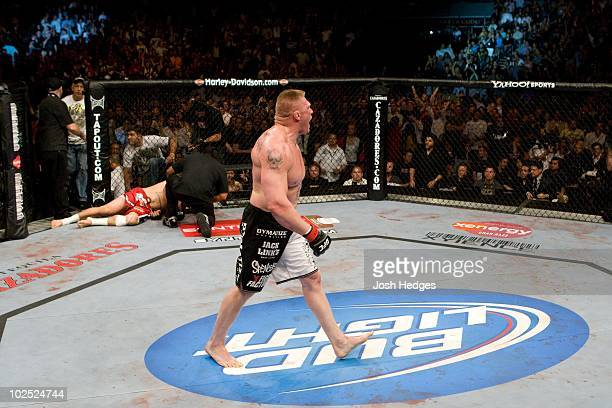 Brock Lesnar def Frank Mir TKO 148 round 2 during UFC 100 at Mandalay Bay Events Center on July 11 2009 in Las Vegas Nevada
