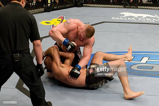 Brock Lesnar def Randy Couture TKO 307 round 2 during the UFC 91 at MGM Grand Garden Arena on November 15 2008 in Las Vegas Nevada