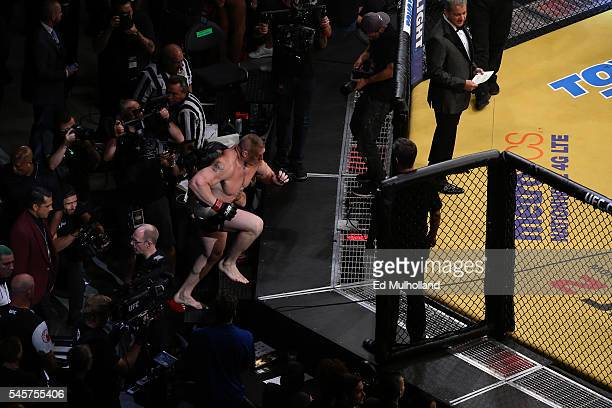 Brock Lesnar enters the Octagon to face Mark Hunt of New Zealand during the UFC 200 event on July 9 2016 at TMobile Arena in Las Vegas Nevada
