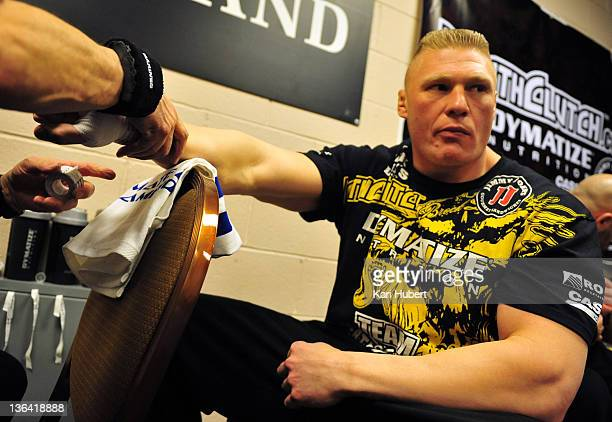 Brock Lesnar has his hands wrapped beore his bout against Alistair Overeem during the UFC 141 event at the MGM Grand Garden Arena on December 30 2011...