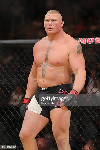Brock Lesnar prepares to fight Mark Hunt during the UFC 200 event at TMobile Arena on July 9 2016 in Las Vegas Nevada