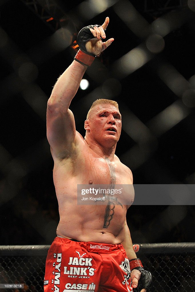 Brock Lesnar reacts after his second round submission of Shane Carwin to win the UFC Heavyweight Championship Unification bout at the MGM Grand Garden Arena on July 3, 2010 in Las Vegas, Nevada.