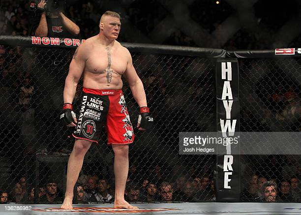 Brock Lesnar stands in the Octagon before his bout against Alistair Overeem during the UFC 141 event at the MGM Grand Garden Arena on December 30...