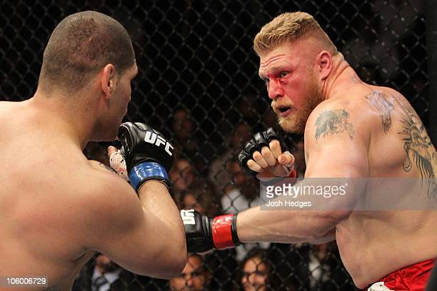 Brock Lesnar takes on Cain Velasquez during the heavyweight title bout during UFC 121 on October 23 2010 in Anaheim California