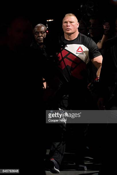 Brock Lesnar walks to the Octagon during UFC 200 at TMobile Arena on July 9 2016 in Las Vegas Nevada