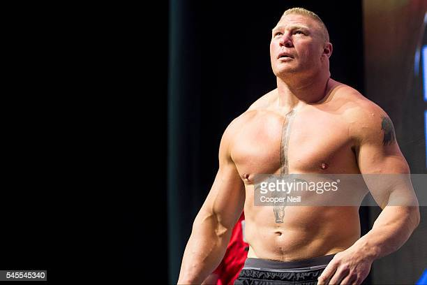 Brock Lesnar walks to the scale during the UFC 200 weighins at TMobile Arena on July 8 2016 in Las Vegas Nevada