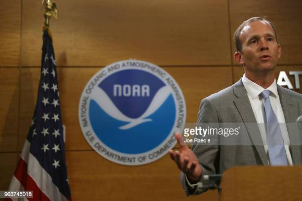 Brock Long FEMA's director speaks to the media during a visit to the National Hurricane Center on May 30 2018 in Miami Florida Mr Long urged people...