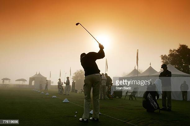 Brock MacKenzie hits practice balls during the 45 minute fog delay before the first round of the Nationwide Tour Championship at Barona Creek on...