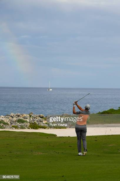 Brock MacKenzie plays a shot on the 14th hole during the first round of the Webcom Tour's The Bahamas Great Exuma Classic at Sandals Emerald Bay...