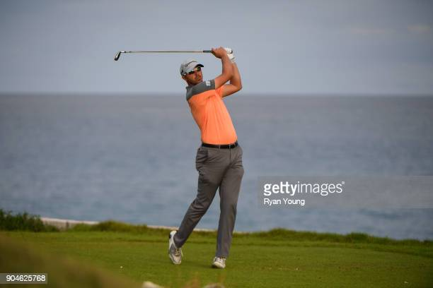 Brock MacKenzie plays his shot from the 15th tee during the first round of the Webcom Tour's The Bahamas Great Exuma Classic at Sandals Emerald Bay...
