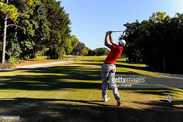 Brock Mackenzie tees off on the first hole of the Fazio Course during the sixth and final round of the Webcom Tour QSchool at PGA National on...