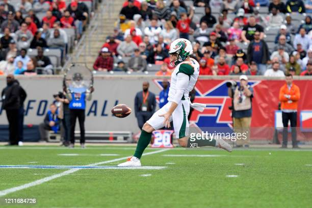 Brock Miller of the Seattle Dragons punts the ball during the XFL game against the Houston Roughnecks at TDECU Stadium on March 7 2020 in Houston...