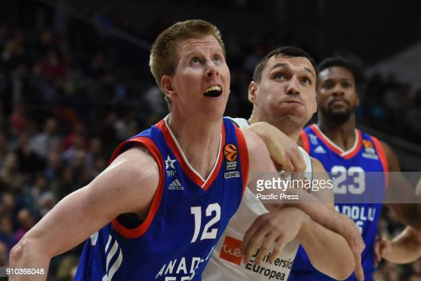 Brock Motum #12 of Anadolu Efes in action during the 2017/2018 Turkish Airlines EuroLeague Regular Season Round 20 game between Real Madrid and...