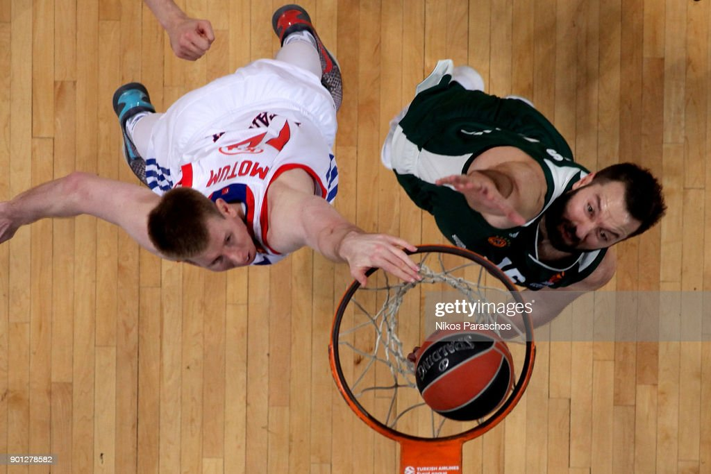 Brock Motum, #12 of Anadolu Efes Istanbul competes with Ian Vougioukas, #15 of Panathinaikos Superfoods Athens during the 2017/2018 Turkish Airlines EuroLeague Regular Season Round 16 game between Panathinaikos Superfoods Athens and Anadolu Efes Istanbul at Olympic Sports Center Athens on January 4, 2018 in Athens, Greece.