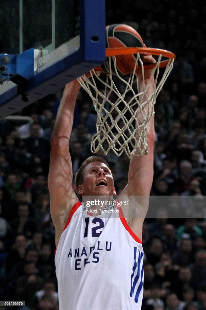 Brock Motum, #12 of Anadolu Efes Istanbul in action during the 2017/2018 Turkish Airlines EuroLeague Regular Season Round 16 game between Panathinaikos Superfoods Athens and Anadolu Efes Istanbul at Olympic Sports Center Athens on January 4, 2018 in Athens, Greece.