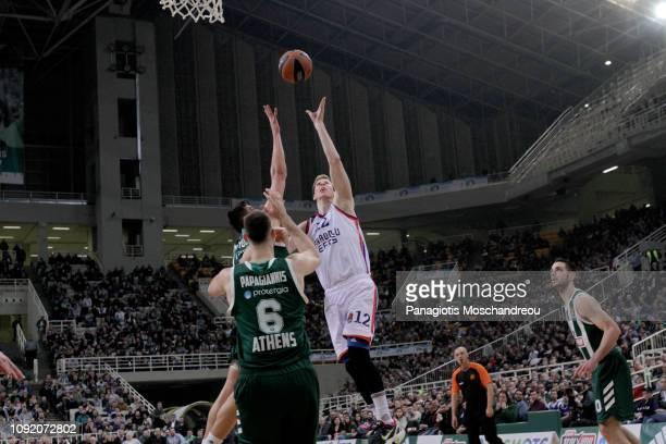 Brock Motum, #12 of Anadolu Efes Istanbul in action during the 2018/2019 Turkish Airlines EuroLeague Regular Season Round 21 game between...