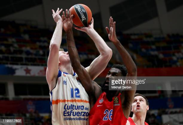 Brock Motum, #12 of Valencia Basket competes with Howard Sant-Roos, #26 of CSKA Moscow in action during the 2019/2020 Turkish Airlines EuroLeague...