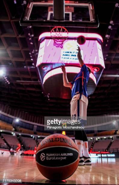 Brock Motum, #12 of Valencia Basket warm up before the 2019/2020 Turkish Airlines EuroLeague Regular Season Round 2 match between Olympiacos Piraeus...