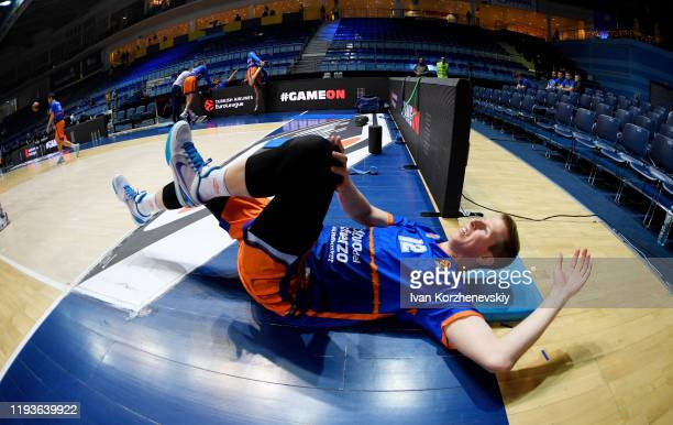 Brock Motum, #12 of Valencia Basket warm up before the 2019/2020 Turkish Airlines EuroLeague Regular Season Round 19 match between Khimki Moscow...