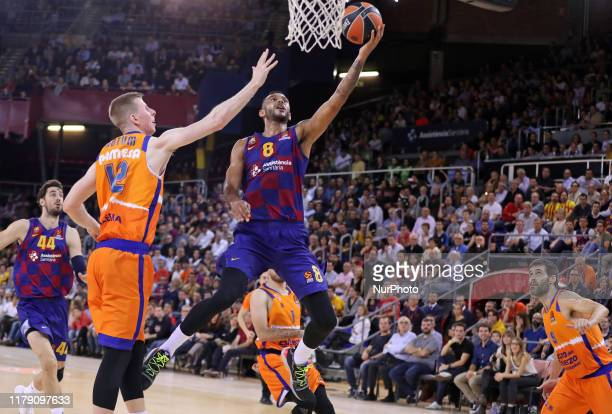 Brock Motum and Adam Hanga during the match between FC Barcelona and Valencia Basket, played at the Palau Blaugrana, corresponding to the week 5 of...