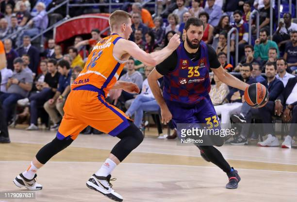 Brock Motum and Nicola Mirotic during the match between FC Barcelona and Valencia Basket, played at the Palau Blaugrana, corresponding to the week 5...