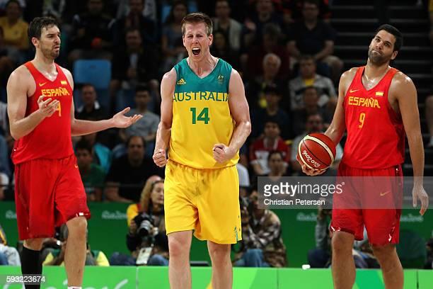 Brock Motum of Australia celebrates Australia basket during the Men's Basketball Bronze medal game between Australia and Spain on Day 16 of the Rio...