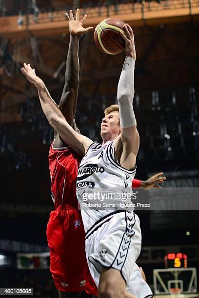Brock Motum of Granarolo in action during the LegaBasket Serie A1 match between Granarolo Bologna and Victoria Libertas Pesaro at Unipol Arena on...