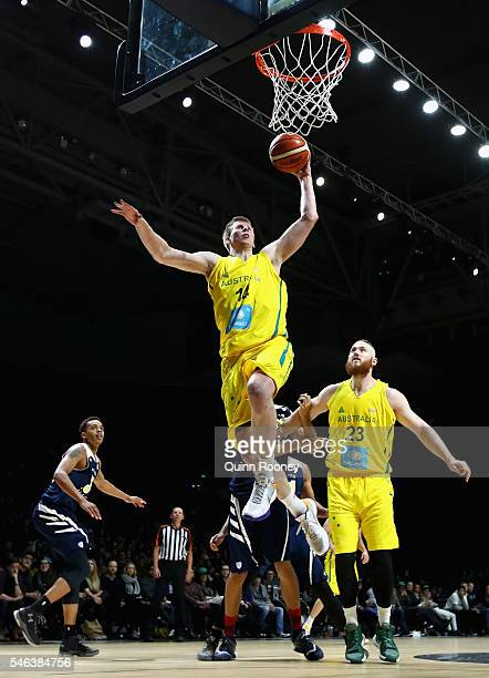 Brock Motum of the Boomers charges to the basket during the match between the Australian Boomers and the Pac-12 College All-Stars at Hisense Arena on...