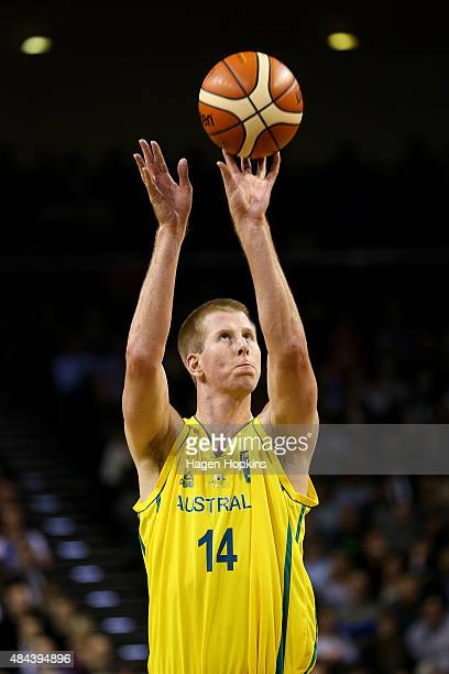 Brock Motum of the Boomers takes a free-throw during the game two match between the New Zealand Tall Blacks and Australian Boomers at at TSB Bank...