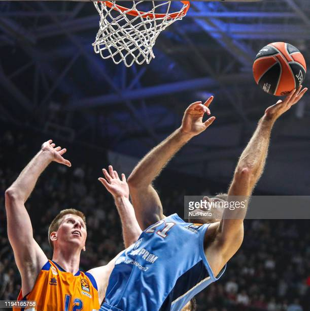 Brock Motum of Valencia Basket and Tim Abromaitis of Zenit St. Petersburg vie for the ball during the 2019/2020 Turkish Airlines EuroLeague Regular...