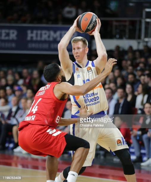 Brock Motum of Valencia Basket in action during the 2019/2020 Turkish Airlines EuroLeague Regular Season Round 24 match between FC Bayern Munich and...